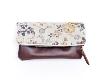 Leather Clutch, Fold over Clutch, Evening bag, Floral, Brown