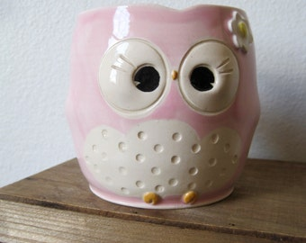 Hooter Owl Mug (Raven) in Colorado Rose Pink with Fancy Flower Handmade Stoneware - ready to ship