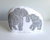 Hugging Mom and Baby Elephant Pillow. Hand Woodblock Printed. Choose Any Color. Made to Order-Takes 1-2 weeks.