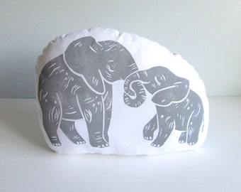 Hugging Mom and Baby Elephant Shaped Animal Pillow. Hand Woodblock Printed. Choose Any Color. Made to Order-Takes 1-2 weeks.