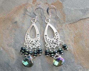 Green Chandelier Earrings, Crystal Earrings, Green Hematite Earrings, Sparkly Earrings, Filigree Earring, Bohemian Earring, Handmade Earring