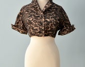 Vintage 1950s Lace Bolero...Midnight Lace Bolero with Blush Lining