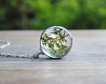 Real moss necklace moss terrarium pendant woodland jewelry  botanical jewelry nature inspired rustic wedding