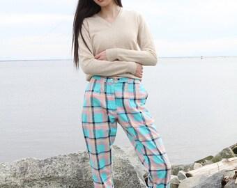 Vintage 80s/90s pastel plaid cotton summer cropped pants