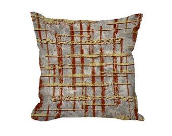 Throw Pillow Cover, fall pillow, mustard yellow pillow, rust pillow, gray decorative pillow, fall decor, modern decor, cotton
