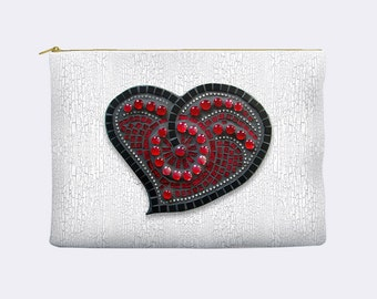 Red Mosaic Heart Cosmetic Bag, cosmetic bag with heart, bridesmaid gift, makeup bag, large cosmetic bag, zippered pouch, small clutch