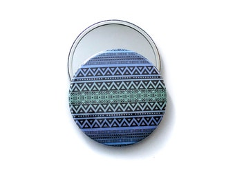 Large pocket mirror, blue tribal makeup mirror, lipstick mirror, small gift idea, party favor, bridesmaid gift, 3.5 inch hand mirror