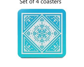 Nordic coaster set, drink coasters, set of 4, Scandinavian coasters, aqua, snowflake, cork back coasters, housewarming gift, hostess gift