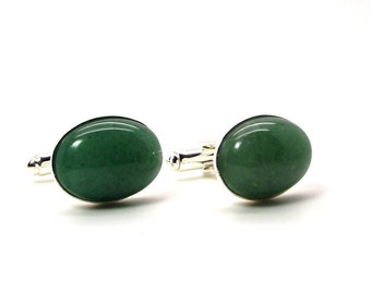 Green Aventurine Cufflinks, Soft Green Cufflinks, Green Cufflinks