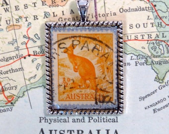 Vintage Australia Postage Stamp Kangaroo Necklace Pendant Key Ring