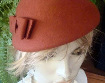 Womens Hat vintage woollen hat terracotta with bow tilt hat
