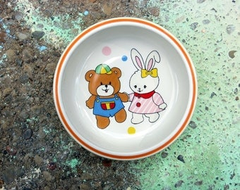 Mikasa Vintage Chiilds Ceramic My First Birthday Yellow Bowl Bunny and Teffy Bear Holding Hands Oranger Trim