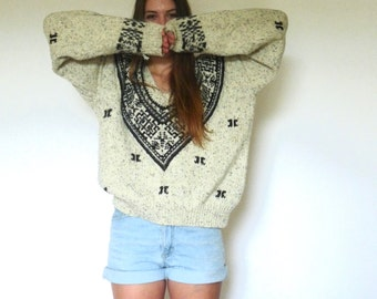 90s Normcore Fair Isle Chunky V-Neck Sweater m l