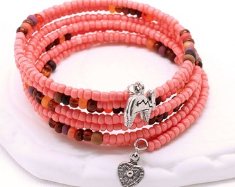 Southwest Bracelet - Coral Seed Beads, Deep Sunset Colors Seed Beads, Pewter Charms, Memory Wire Bracelet