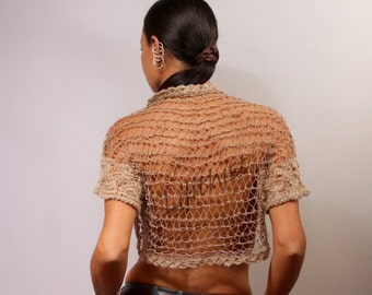 Shrug Bolero, Crochet Shrug, Knit Bolero, Crop Knit Shrug, Summer Wedding Shrug, Bridal Lace Shrug, Champagne Beige Evening Gown / S M L