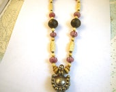 1970s Macrame Nepalese Bell Necklace - Pink Striped Glass & Carved Bone Beads