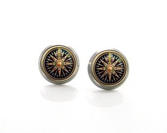 Nautical Compass Titanium Post stud Earrings | Hypoallergenic Sensitive Stud | Titanium Stud Earrings | Steampunk Titanium Earrings