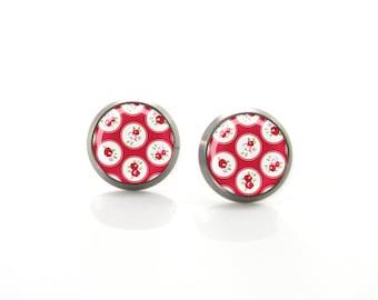 Red Roses Rustic Farm Picnic Titanium Post Earrings | Hypoallergenic Earring Stud | Titanium Earring Stud | Sensitive jewelry post studs