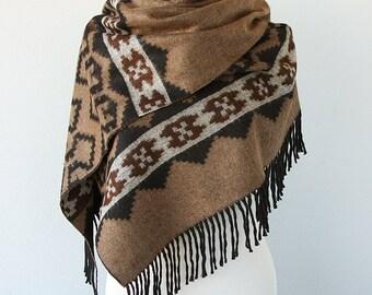 Large Blanket Scarf Oversized blanket wrap Fringed blanket shawl Geometric winter wrap For men Light brown black Christmas gift for him