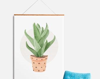 Kitchen Art, Cactus Succulent Potted Plant - Watercolor Print Illustration Print Wall Decor