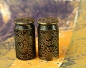 2 - 45 Caliber 12mm Etched Brass Bullet Shell Casings for your Steampunk Assemblage Jewelry - 2-12mmBE
