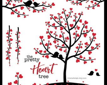 The Pretty Heart Tree - Digital Clip Art - Instant Download - Red and Black - Trees, Branches, Vines, and Birds