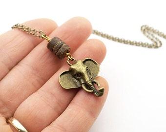 Elephant Jewelry Elephant Necklace Elephant Keychain boyfriend gift for him Bronze Chain Rustic Layered Necklace Men Hunt jewelry trend 2017