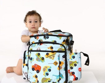 Trucks and cars, Cotton, Canvas Diaper Bag,  Backpack Diaper Bag ,Stroller Bag  - Tinky the Diaper Bag for dads and moms