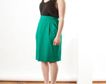 Straight Knee Skirt / Pleated Green Skirt / Fitted High Waisted Skirt