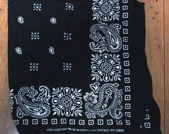 Vintage Black Bandana Scarf/ colorfast rn 13960