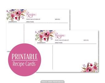Printable Recipe Cards, Floral Bridal Shower Recipe Cards, Printable Wedding Shower  DIY - Instant download 2561