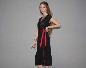 Vintage 1970s Sheer Black and Red Asian Wrap Dress  -  70s Wrap Dress  -  1970s Sheer Dresses   - WD0580