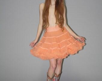 Vintage Pastel Tangerine Orange Crinoline  - Vintage Orange  Tutu  - Vintage Petticoats  - Wb0372
