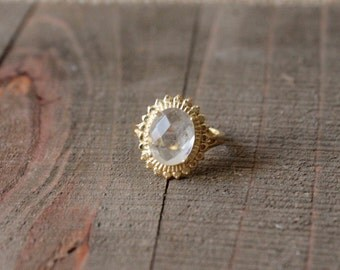 GEMSTONE RING/// Clear Quartz Gold Filled Faceted Ring/ Oval 10k Gold/ Clear Gemstone Ring/ Natural Crystal Quartz/ Gold Ring Statement
