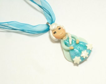 Snow Queen Elsa Ribbon Necklace - Handmade Cold Porcelain Clay Elsa Pendant Charm in Shimmery Acqua Blue Organza Ribbon Necklace - OOAK