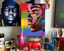 African Woman face painting,kiss 2 series,stencil art,spray paint art,canvas,beauty,street art,handmade,urban,graffiti,home,pop art,rainbow