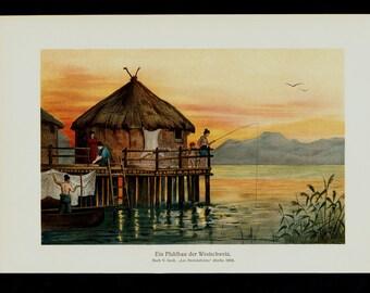 1911 Antique print of Polynesian landscape, fine exotic lansdcape, fine color lithograph