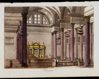 1823 Antique print of a Synagogue, fine hand colored engraving 193 years old