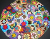 50 Crochet Granny Square Blocks for Afghan - Multicolored