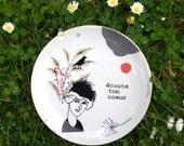 Antique plate with Suzanne (écoute ton coeur) #1002