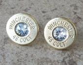 Boucle d'oreille de Winchester 45 Colt en laiton balle, léger mince coupe, cristal de Swarovski clair, Post en acier chirurgical - 296