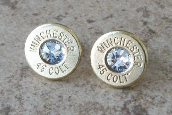 Winchester 45 Colt Brass Bullet Earring, Lightweight Thin Cut, Clear Swarovski Crystal, Surgical Steel Post - 296