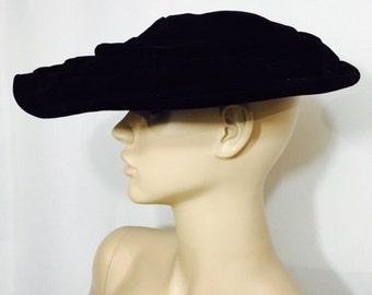 Vintage Black Velvet Cartwheel Hat New Look Style Platter Saucer 1950s Wide Brim Lydia New York Dramatic Mid Century Fashion Millinery
