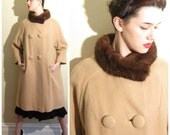 Vintage 1950s Swing Coat with Fur Collar and Headband / 50s Button Down Beige Coat with Mink