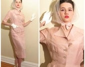 Vintage 1950s Skirt Suit in Pink Silk / 50s Blazer and Skirt Set Hannay Troy Marshall Field / Small