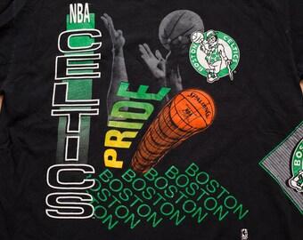 Boston Celtics Pride T-Shirt, Hip Hop Apparel, 2-Sided NBA Tee, Vintage 90s
