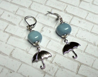 Light Blue and Silver Rainy Day Umbrella Earrings (2636)