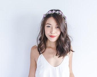 lavender lilac purple rose headband / delicate wedding bridal rustic floral headpiece pastel spring garden romantic whimsy woodland