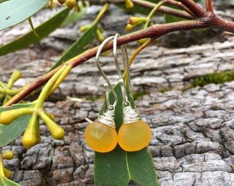 Mustard Yellow Chalcedony and Sterling Silver Gemstone Drop Earrings