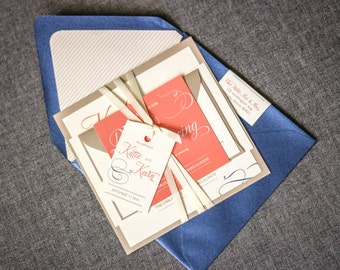 Coral And Navy Wedding Invitations With Satin Ribbon And Monogram Tag,  Summer Wedding Invitation Suite